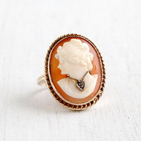 Antique 10k Yellow Gold Diamond Cameo Ring - Size 7 Vintage 1930s Art Deco Habillé Carved Shell Fine Jewelry