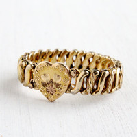 Vintage Heart Expansion Bracelet - Mid Century WWII 1940s Gold Filled Floral D.F.B. Co. Stretch Sweetheart Jewelry
