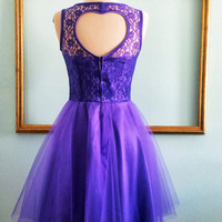 Purple prom dress lace bodice and tulle skirt, heart cutout back - Other COLORS Available - AMANDA style