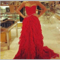 Custom Made Red A line long prom dresses, bridesmaid dresses, red prom dress with cap sleeves, long evening dresses, formal dresses