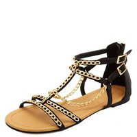 Chain Embellished T-Strap Gladiator Sandals