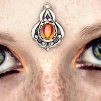 Honey Glow Bindi, tribal fusion, wicca, pagan, bollywood jewelry, amber gem, facial jewelry, bellydance, gypsy costume, goddess, silver, fae