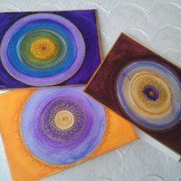 "Mandala Greeting Card - ""SUN"": 3 card set - Handmade"