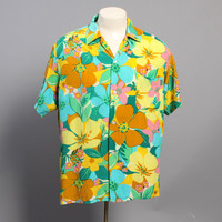 60s Men's Rayon HAWAIIAN SHIRT / BRIGHT Floral Print, L