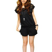 Allegra K Women Zip up Back Scoop Neck Bat Sleeve Romper Jumpsuit Black S