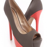 Charcoal Peep Toe heels Nubuck Faux Leather