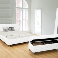 Kaitlyn white or black bycast leather tufted queen bed frame set with crystal button tufting