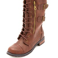 SIDE-ZIP DOUBLE BUCKLE COMBAT BOOTS