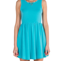 Simple Tank Fit and Flare Dress - Turquoise