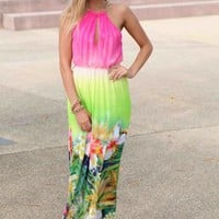 Pink & Green Floral Maxi Dress with Gold Chain
