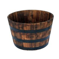 26 in. Round Wooden Barrel Planter-HL6642 at The Home Depot