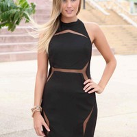 Black Mesh Cutout High Neck Halter Dress