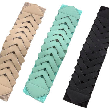 Interlocking Elastic Belt - Black, Beige or Mint