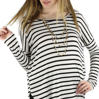 Long Sleeve Striped Comfy Tunic - Black/White