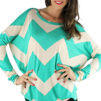 Long Sleeve High Low Chevron Comfy Tunic - Kelly Green/Beige