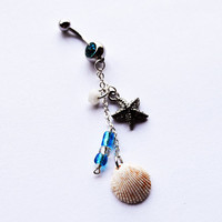 Nautical Belly Button Ring, shell Navel Jewelry, starfish belly ring, beach belly button ring, nautical jewelry, belly piercing, summer