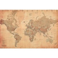 Amazon.com: World Map (Vintage Style) Art Poster Print - 24x36 Poster Print, 36x24 Poster Print, 36x24: Kitchen & Dining