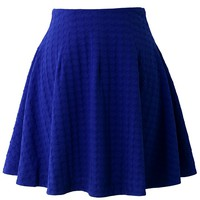 Energetic Blue Jacquard Skater Skirt