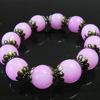 Pink Bracelet Pink Stretch Bracelet - Handmade Bracelet Jewelry for Women - Gift for Her Fashion Jewelry