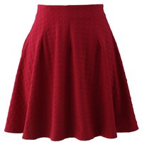 Energetic Red Jacquard Skater Skirt