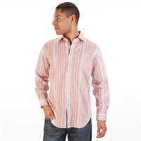 Thomas Dean Satin Striped Button Up Shirt at Von Maur