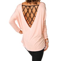 Light Rose/Black Caged Back Dolman Top