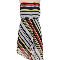 Striped asymmetrical tube dress