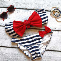 Sailor's Girl Navy Striped Red Bow Bandeau Bikini