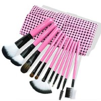 11 Pcs Makeup Comestic Brush Set with Black Checks Pink Pouch