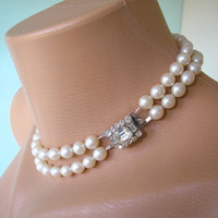 Art Deco Jewelry, Great Gatsby Jewelry, Pearl Choker, Cream Pearls, Vintage Bridal, Pearl Necklace, Downton Abbey Jewelry, Bridal Jewelry