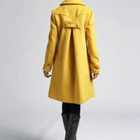 Yellow cashmere jacket winter coat (399)