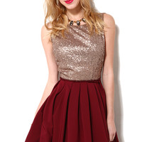 Sequin Bust Ballerina Dress in Bronze Burgundy