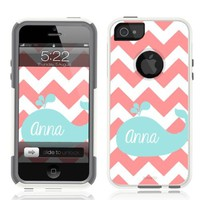 iPhone 5 Case White Whale Chevron Monogram (Generic for Otterbox Commuter)