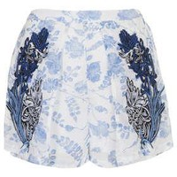 Navy Folk Scarf Print Shorts