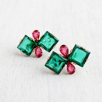 Vintage Sterling Silver Green & Pink Glass Earrings - Late Art Deco 1940s Open Back Screw Back Jewelry