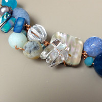 Blue OOAK Wired Necklace