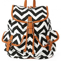Black and White Chevron Backpack | MakeMeChic.com