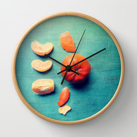 Orange Wedge Wall Clock by Olivia Joy StClaire