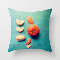 Orange Wedge Throw Pillow by Olivia Joy StClaire
