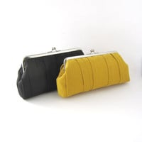 Frame clutch - bridesmaid clutch - mustard yellow pleated clutch purse