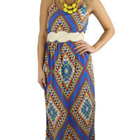 Stained Glass Maxi Dress - Blue/Multi