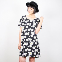 Vintage Sunflower Dress Daisy Dress Black White Yellow Floral Print Mini Dress T Shirt Dress 1990s 90s Dress Grunge Dress XL Extra Large