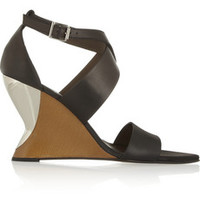 Marni Leather wedge sandals – 55% at THE OUTNET.COM