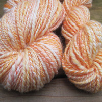 Handspun Yarn - CREAMSICLE - Worsted Weight Superwash Merino and Nylon