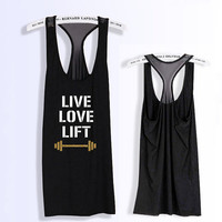 LIVE Love LIFT Glitter print work out racerback tank top PK_409