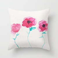 Asian Poppies Throw Pillow by DuckyB (Brandi)