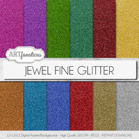 "Glitter digital paper ""JEWEL FINE GLITTER"" sparkling gem colors of red glitter, green glitter, gold glitter, orange glitter, blue glitter"