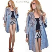 Vtg 80s Grunge ACID WASHED Oversized BEJEWELED Art Deco Boho Denim Jacket Coat