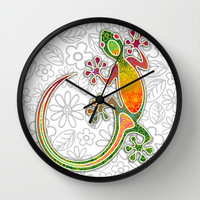 Gecko Floral Tribal Art Wall Clock by Bluedarkat Lem
