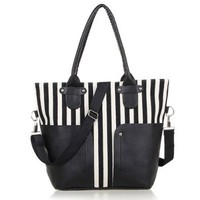 Vertical Stripes Splicing Large Size Shoulder Bag Handbag Purse
